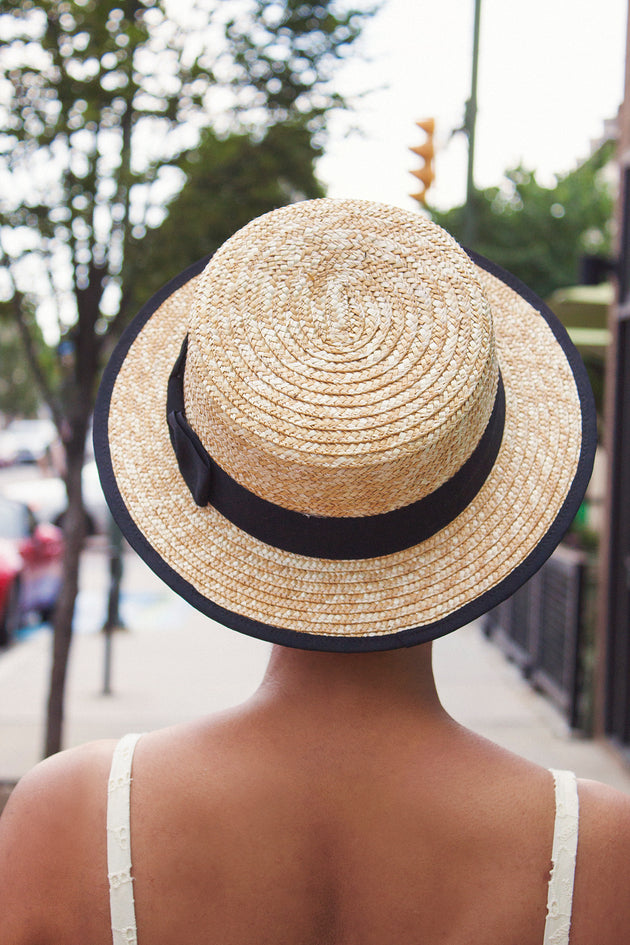 Natural Straw Boater with Black Band