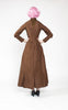 1890s Victorian Heavily Beaded Brown Silk Taffeta Three-Piece Dress