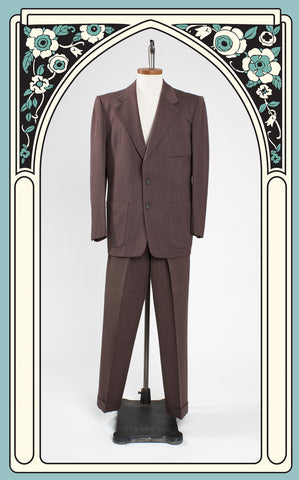 1940s Berry-Burk and Co. Brown Herringbone Gabardine Suit