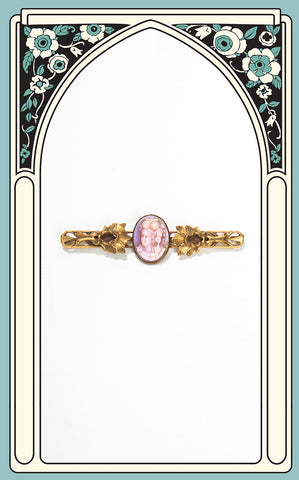 1900s Art Nouveau Pink Glass Cameo Brooch