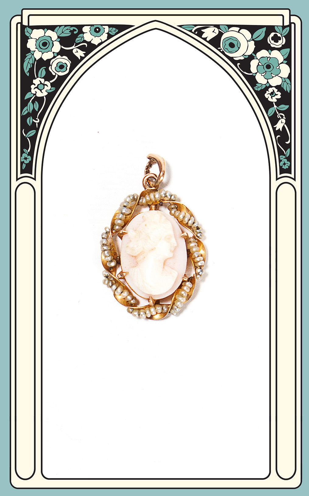 RESERVED FOR SOULA -- 1900s Edwardian 10k Gold Pink Shell Cameo Pendant with Seed Pearls