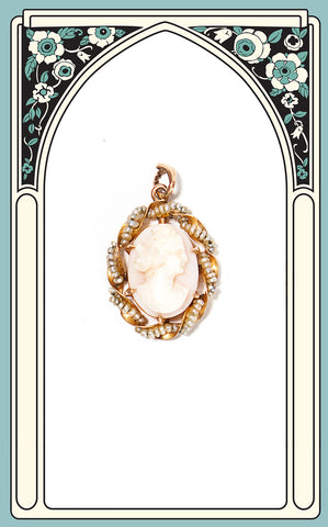 1900s Edwardian 10k Gold Pink Shell Cameo Pendant with Seed Pearls