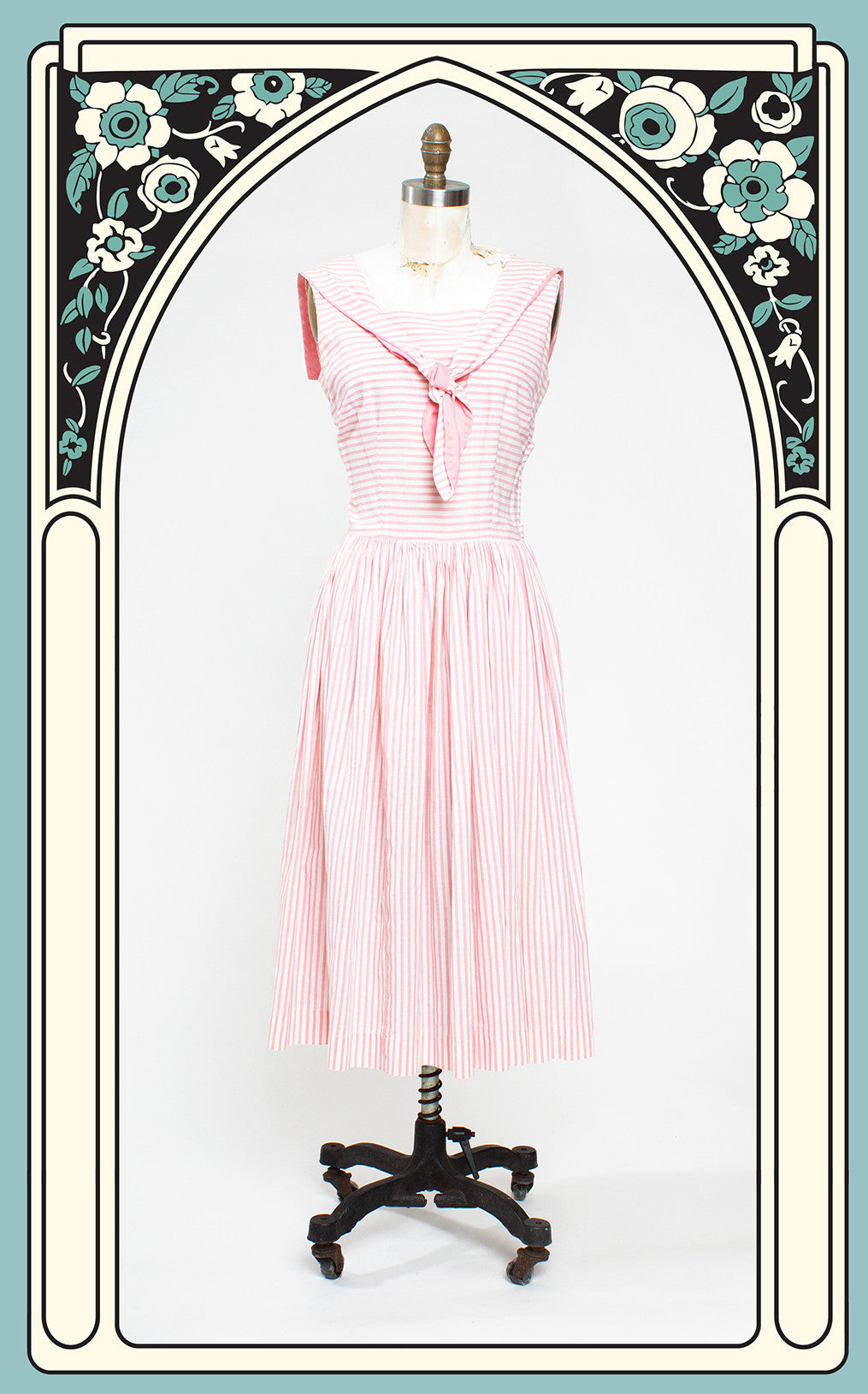 1950s Kate Renner Pink & White Striped Sailor Day Dress
