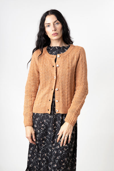 Cinnamon Wavy Knit Acrylic Button Cardigan