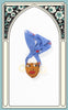 1940s Hand Painted Brazil Nut Lady Novelty Brooch with Blue Bandana
