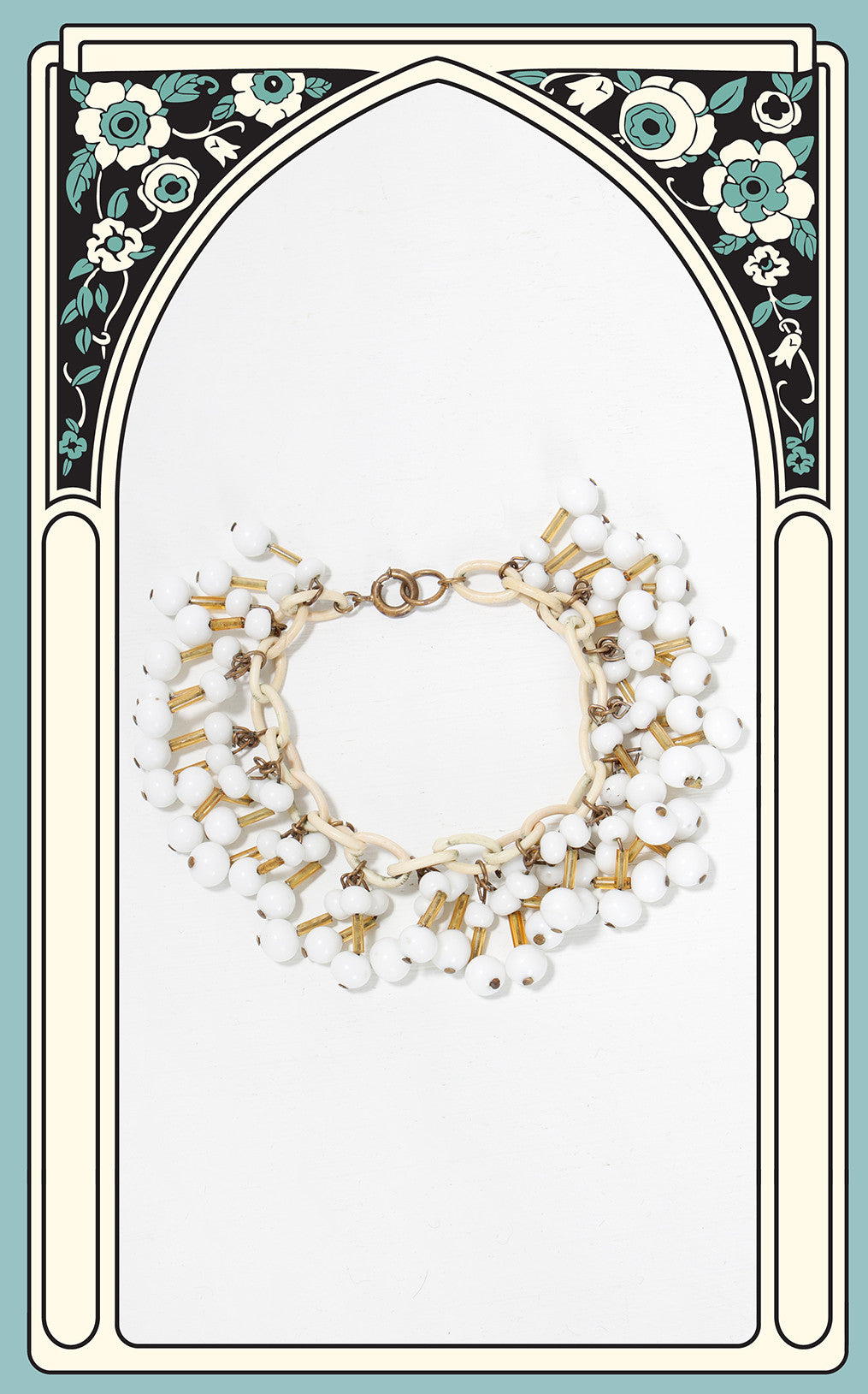SOLD -- 1930s White & Topaz Glass Bracelet on Celluloid Chain