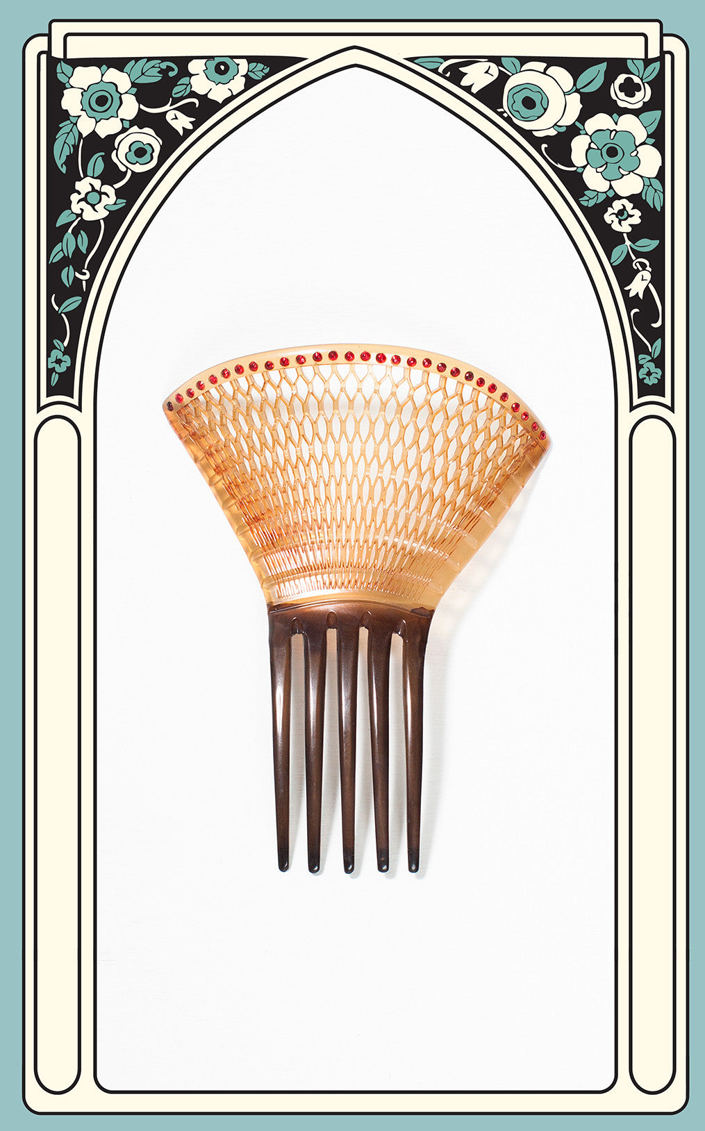1920s Curved Celluloid Hair Comb with Woven Design and Red Paste Rhinestones