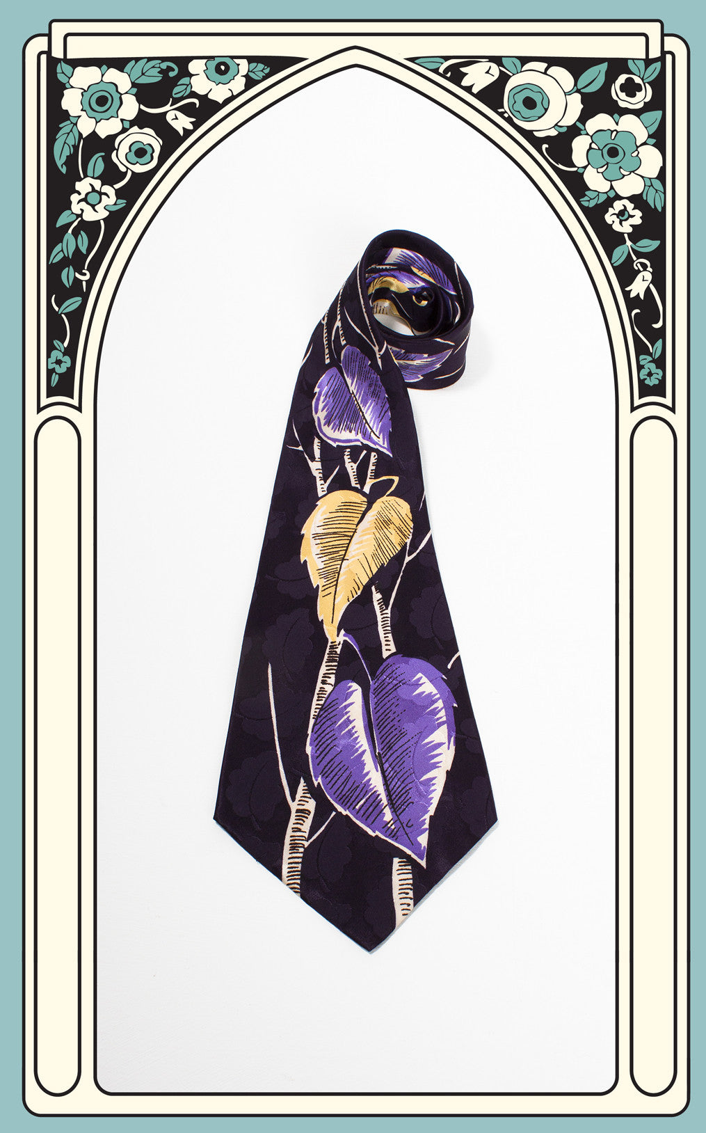 1940s Columbine by Raxon Purple and Gold Leaf Tie