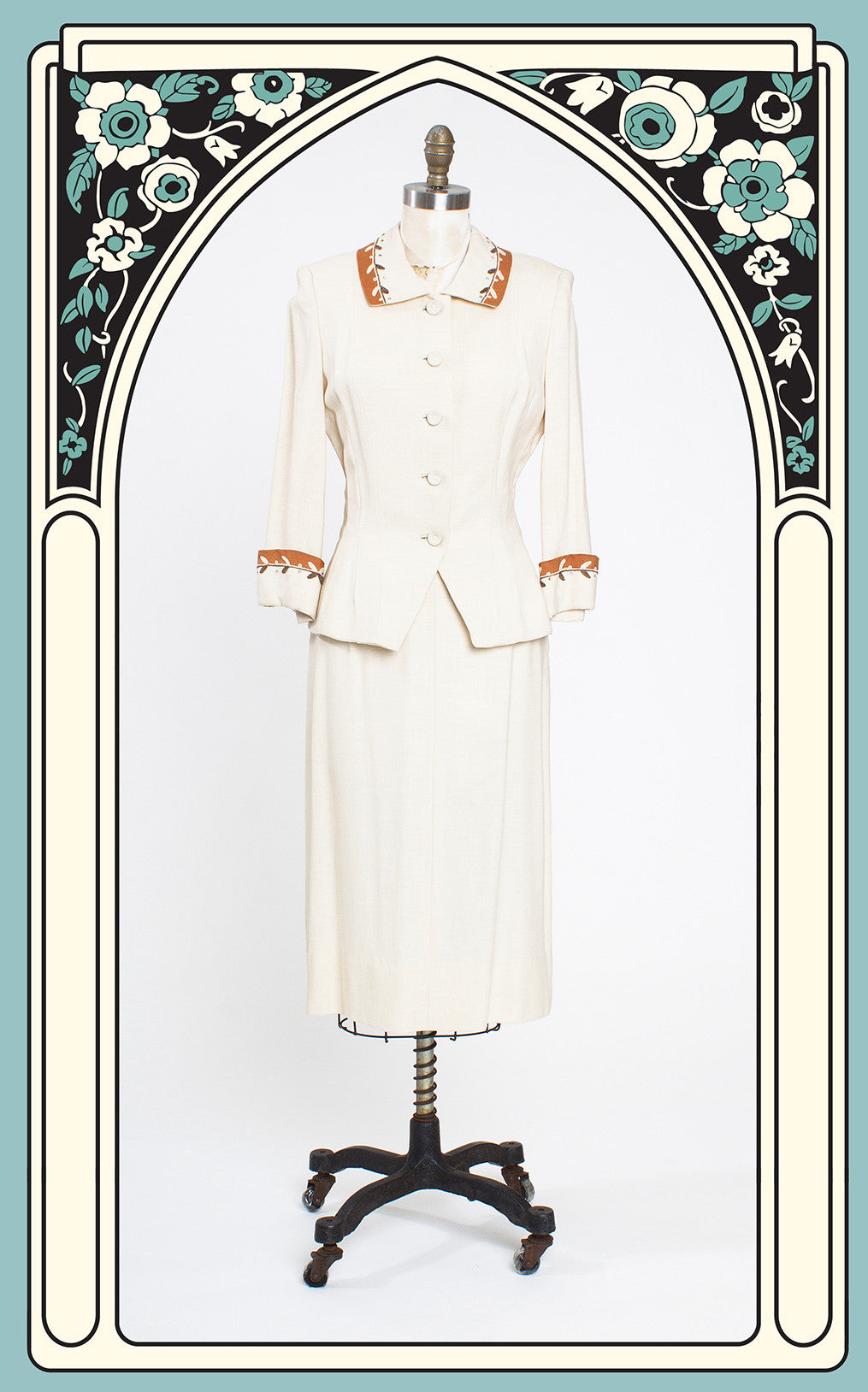 1950s Wallace Ivory and Copper Linen Skirt Suit with Soutache and Rhinestone Detail