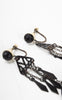 Rare 1920s Art Deco Celluloid & Chain Screw Back Dangle Earrings