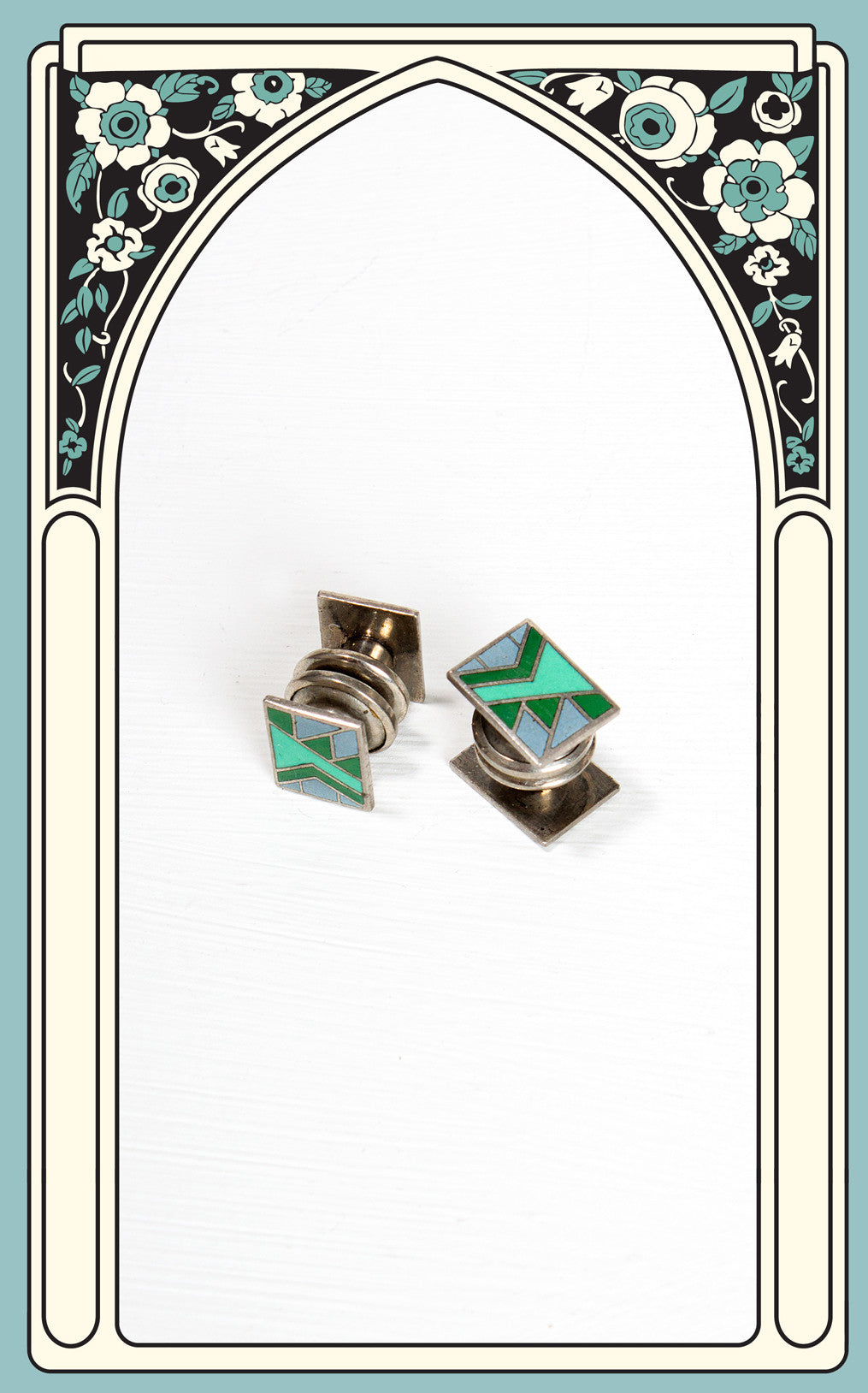 1920s Green Enamel Art Deco Cufflinks