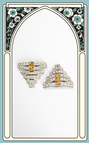 1930s Art Deco Rhinestone Dress Clips