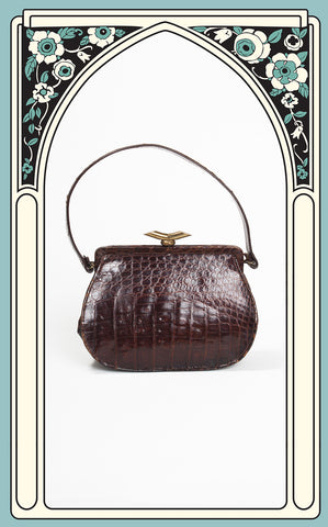 1930s Art Deco Alligator Handbag