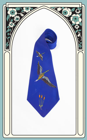 1940s Windsor of California Hand Painted Mallard Tie