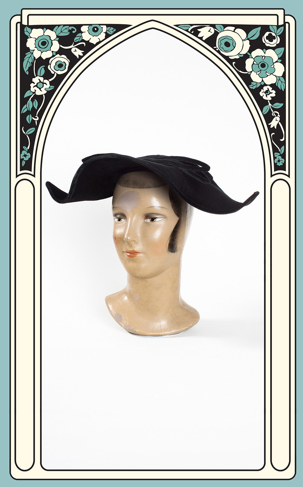 1940s Roberta Bernays Velvet Dutch Hat