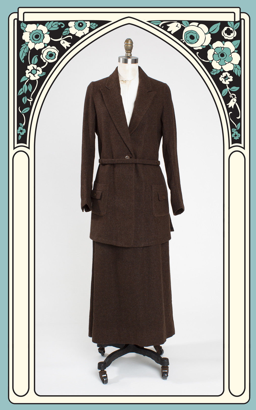 SOLD -- Museum Quality Early 1920s Brown Wool Women's Walking Suit