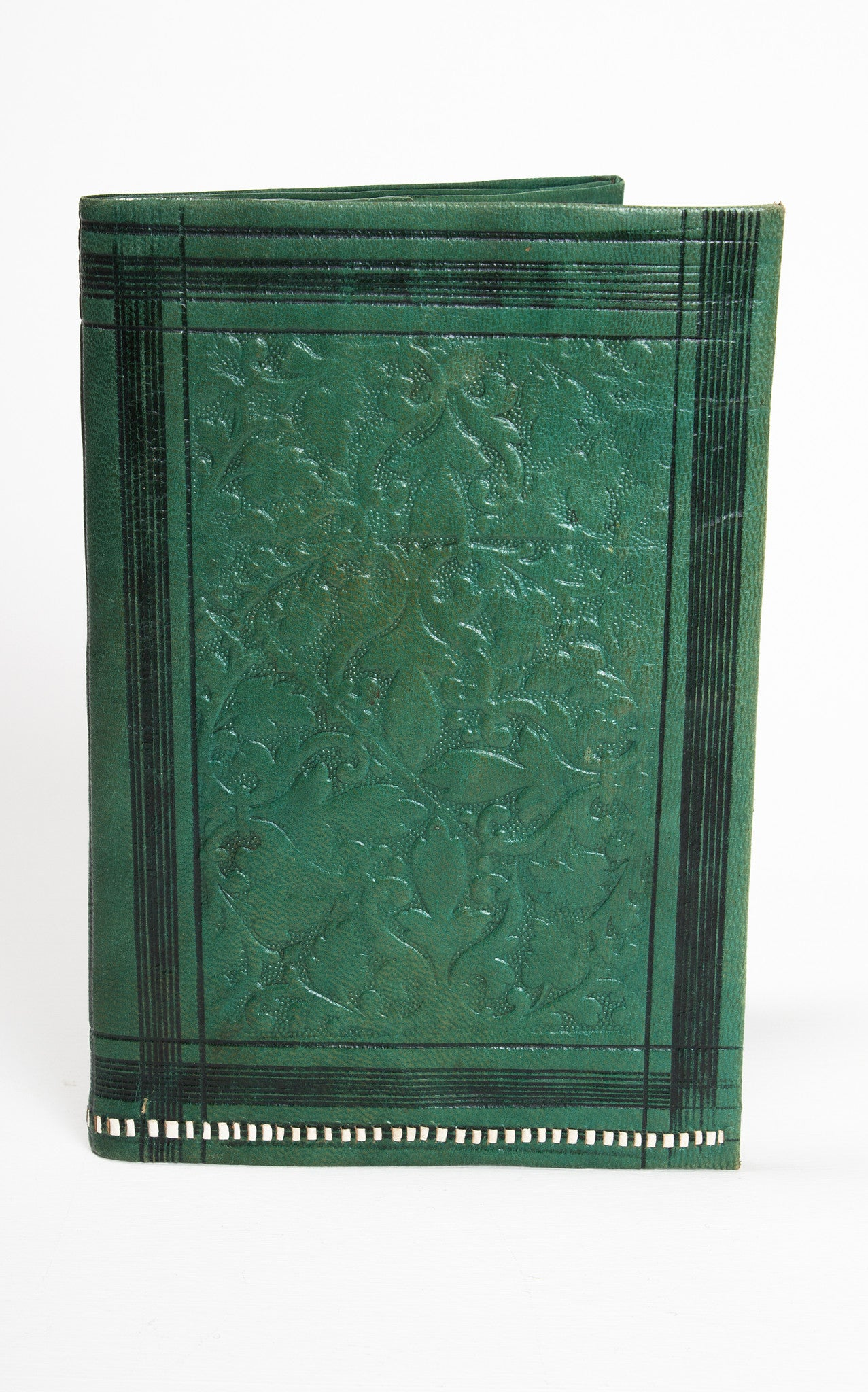 1910s Edwardian Art Nouveau Hand Tooled Green Kid Leather Wallet & Coin Purse