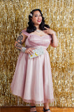 1950s Style Dusty Pink and Silver Glitter Prom Dress