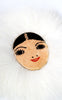 1940s Alaska Souvenir Eskimo Face Pin with Fox Fur Trim