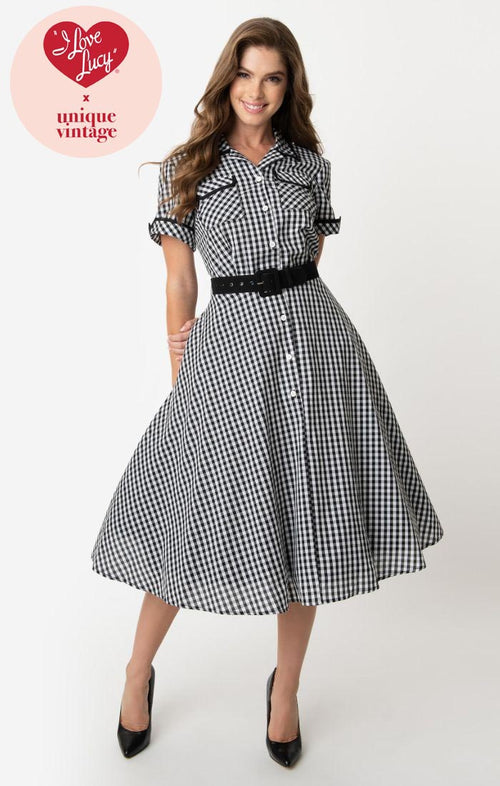 I Love Lucy x Unique Vintage Black & White Gingham Ethel Swing Dress