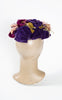 SOLD -- 1930s Ko-San Straw Hat with Velvet Pansies & Bows