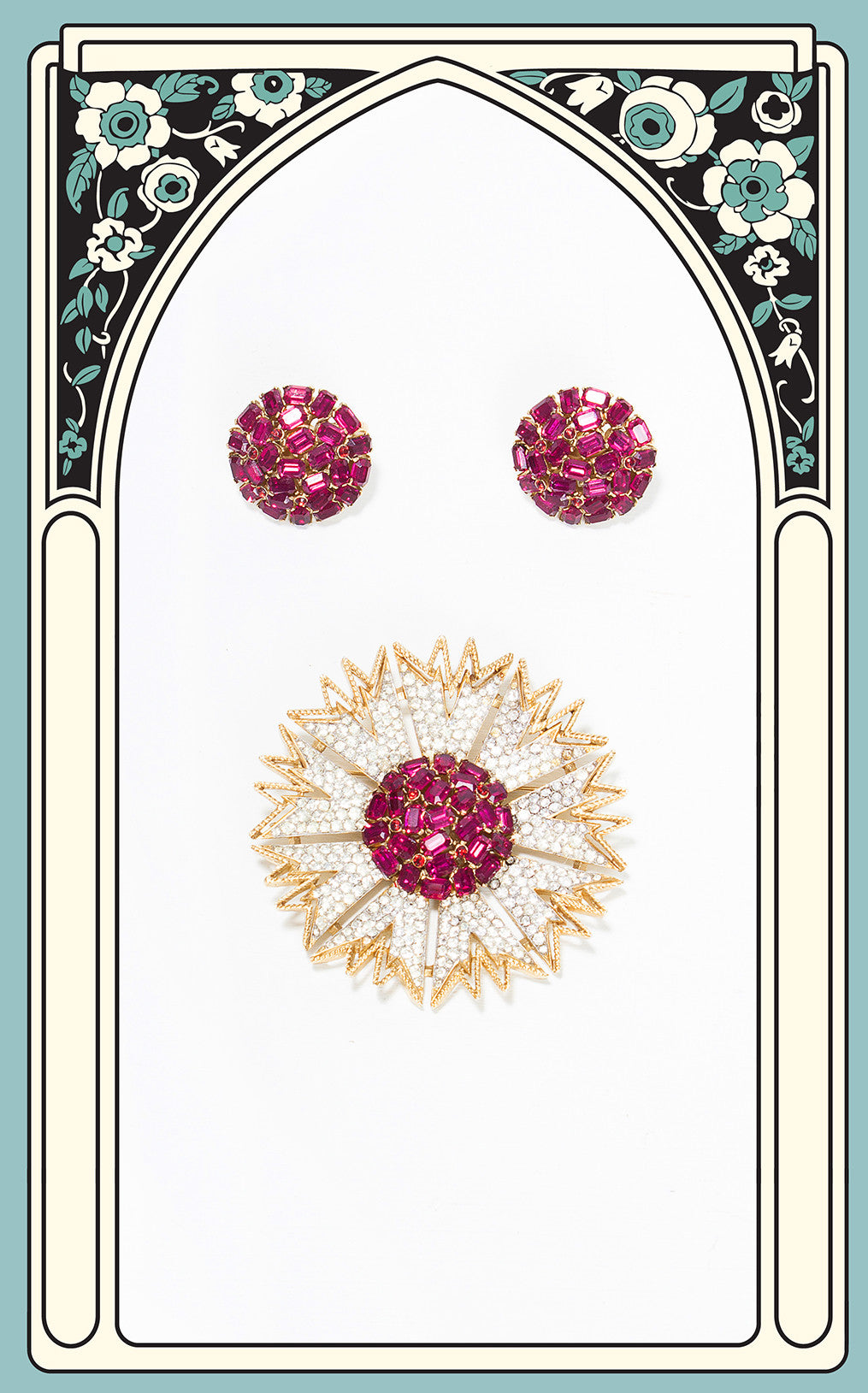 1950s Crown Trifari Ruby Sunflower Brooch and Earring Set