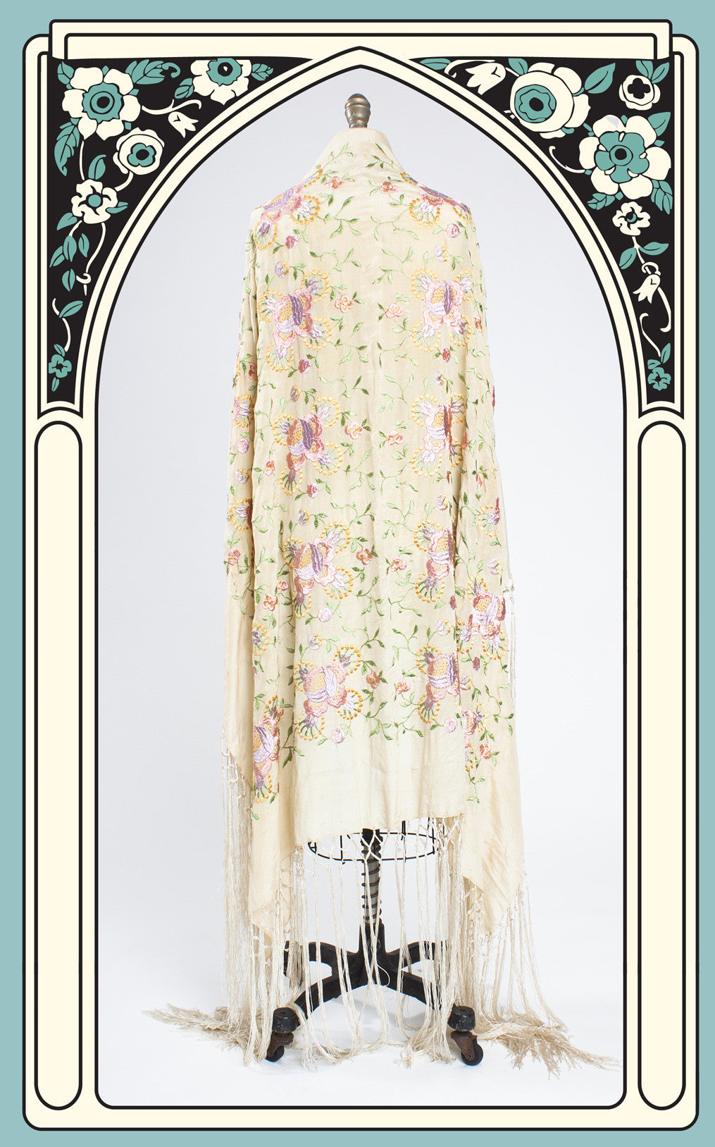 SOLD -- 1920s Hand Embroidered Ivory Silk Piano Shawl