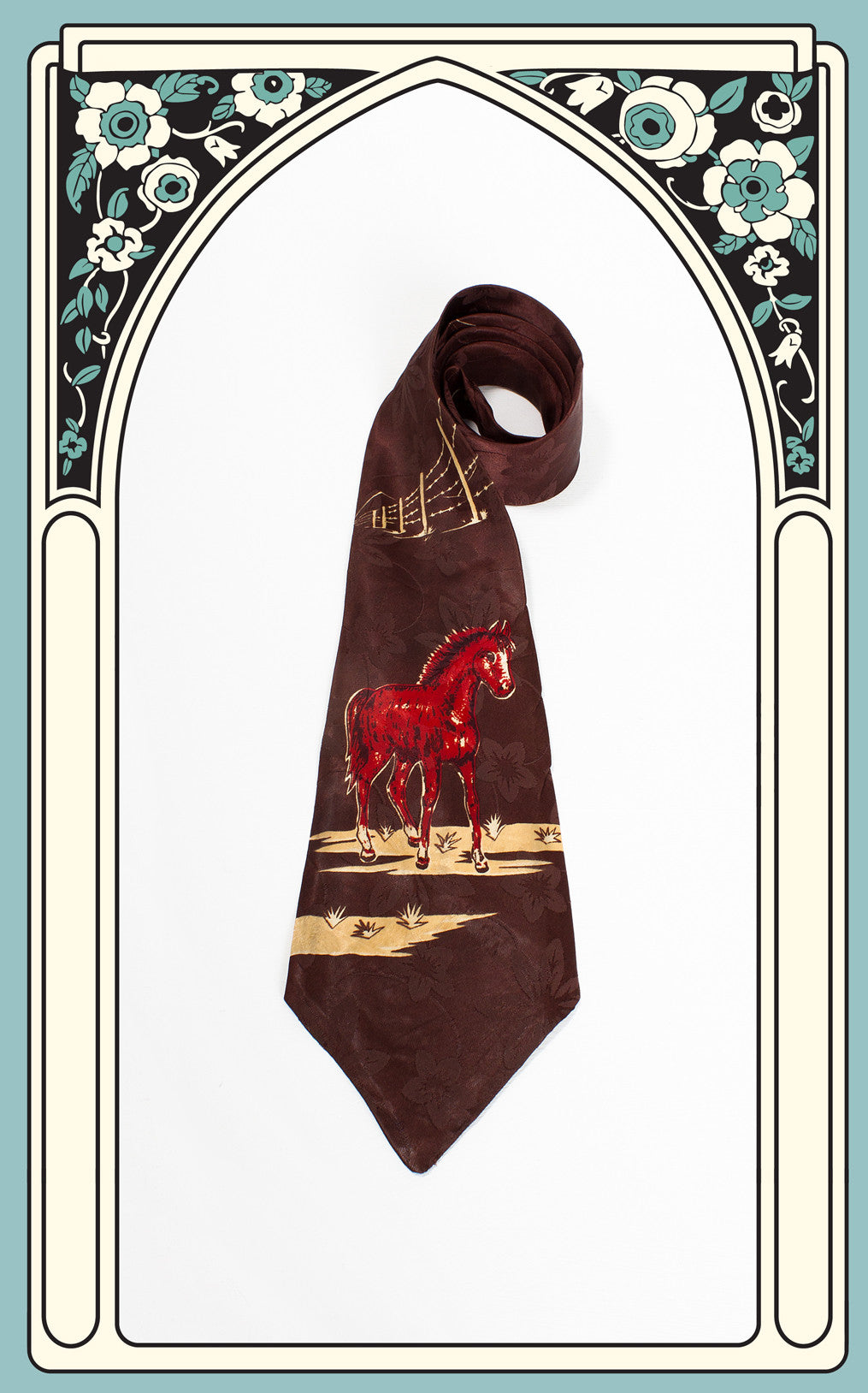 1940s Hare's Ltd. Silk Red Pony Tie