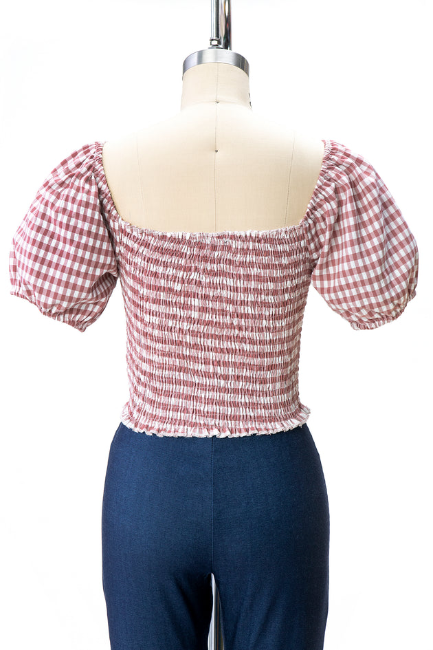 Gingham Peasant Style Top (2 Colors)