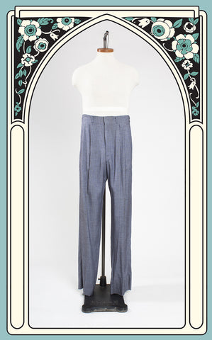 1950s Hercules Hollywood Waist Blue and Brown Houndstooth Trousers NOS