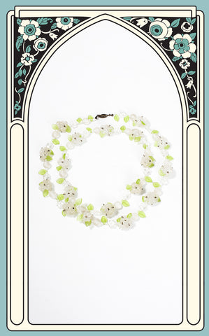1930s Frosted Glass Floral Necklace