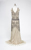 Late 1920s Style Glow Beaded Drop-Waist Gown