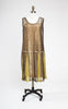 SOLD -- Near Mint 1920s Art Deco Metallic Gold Lace and Chartreuse Silk Dress