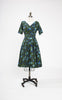 SOLD -- 1950s Selma of Miami Floral Cocktail Dress with Back Cut Out & Rhinestone Detail