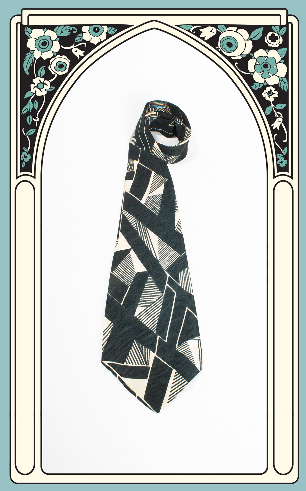 SOLD -- 1940s Arrow Green Deco Geometric Tie