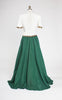 SOLD -- 1940s Ivory and Green Starlet Evening Gown with Gold Sequin Trim
