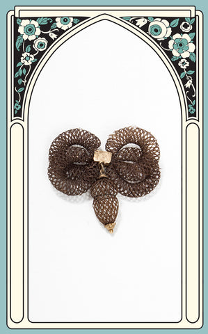 1875 Victorian Brown Hair Bow Brooch