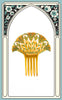 SOLD -- 1920s Art Deco Yellow Celluloid Hair Comb with Green Rhinestones