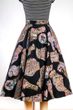 RARE Vintage 1950s Hand Painted Black Felt Novelty Print Circle Skirt / Gold Metallic / Urn Vase Jug Print