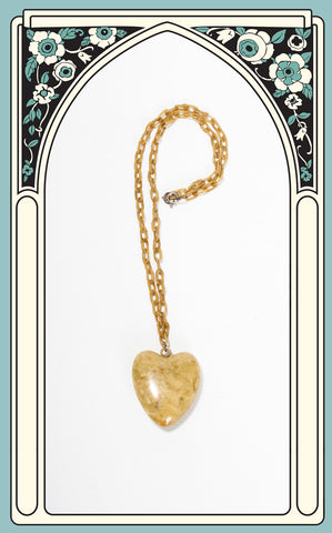 Rare 1930s Yellow Marbled Celluloid Heart Necklace with Celluloid Chain