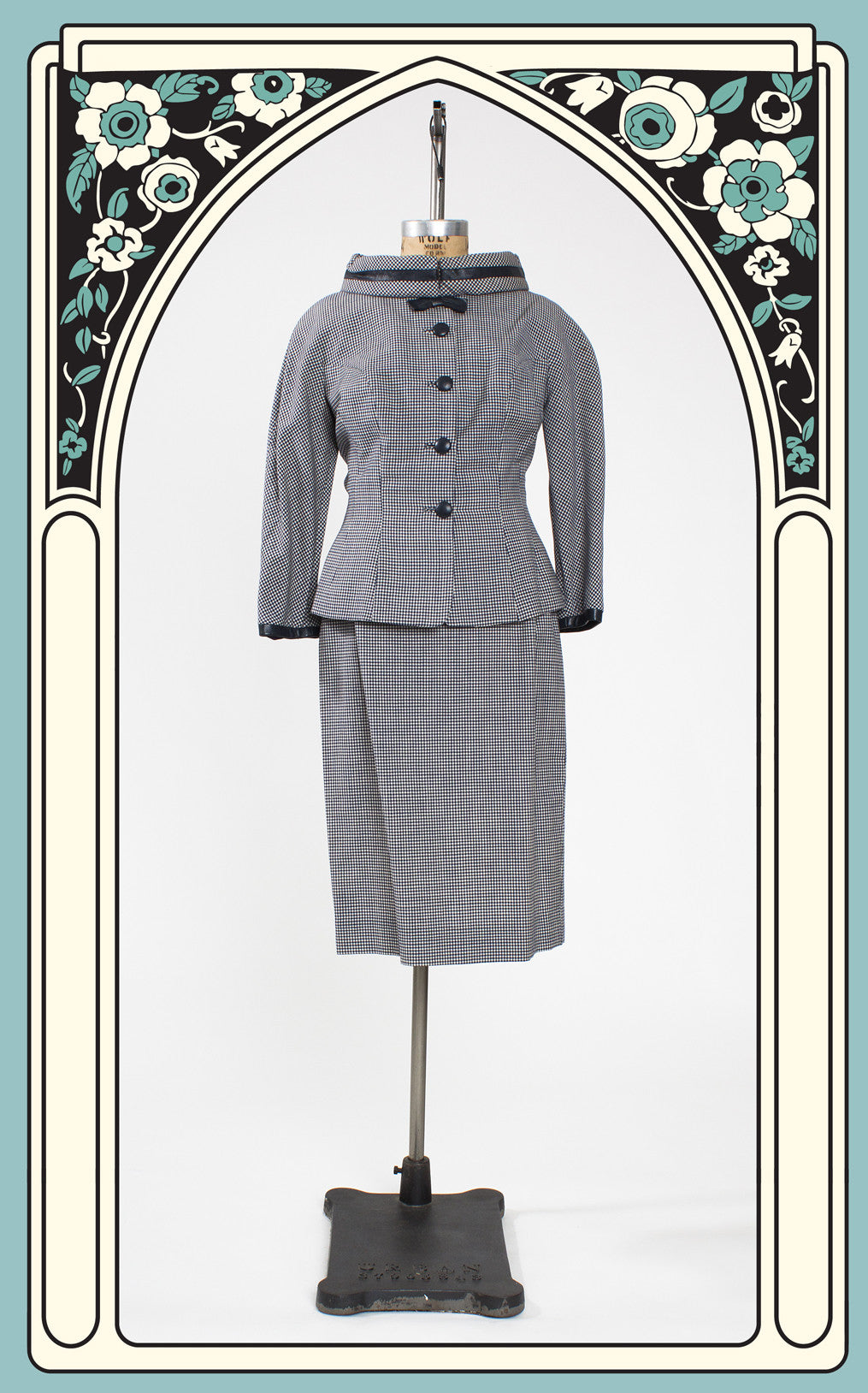 Early 1960s Lilli Ann Navy Gingham and Leather Suit