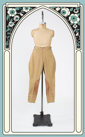 SOLD -- 1930s Heavy Twill and Leather Equestrian Jodhpurs/Breeches
