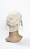 1920s Art Deco Silk & Lace Boudoir Cap with Braided Gold Lamé Trim & Rosettes