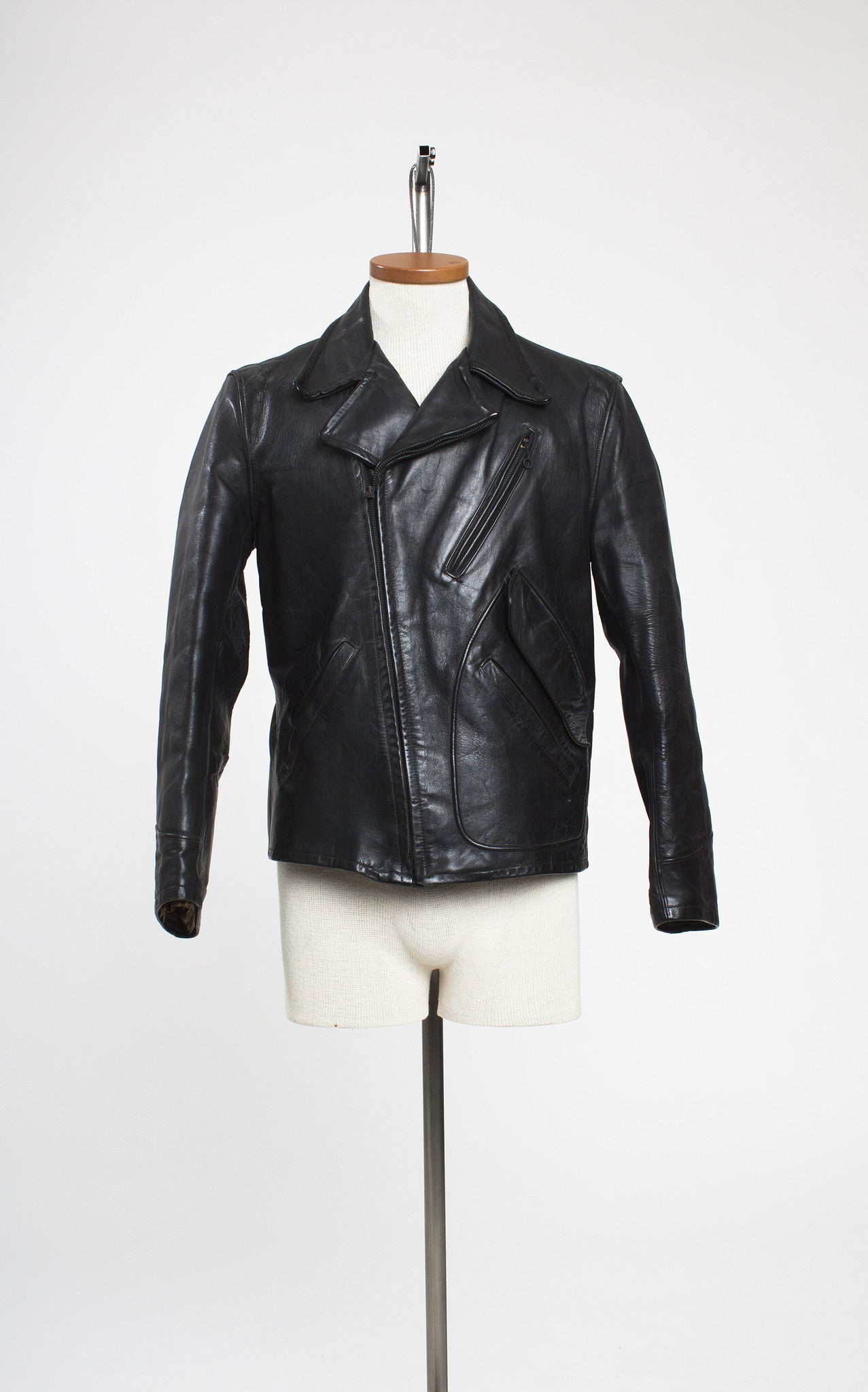 1940s Windward Black Horsehide Leather Asymmetrical Zip Jacket with Belted Back