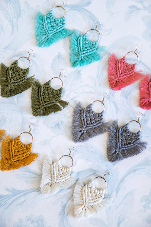Macrame Fringe Earrings (6 Colors)