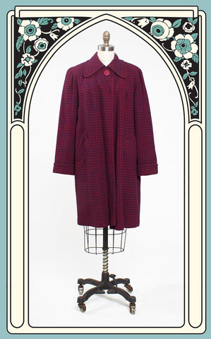 1950s Donnybrook Burgundy & Purple Check Wool Swing Coat