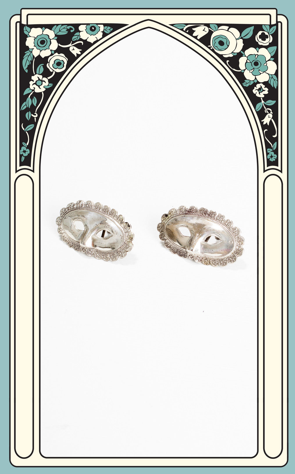 1940s Sterling Silver Masquerade Screwback Earrings