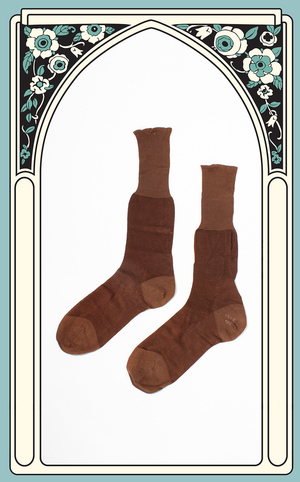 1940s Men's Rayon & Cotton Brown Socks