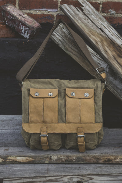 Olive canvas messenger bag with leather accents