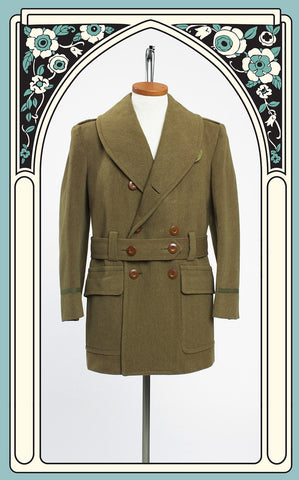 SOLD -- 1940s WWII Era Shawl Collar Belted Mackinaw Army Coat